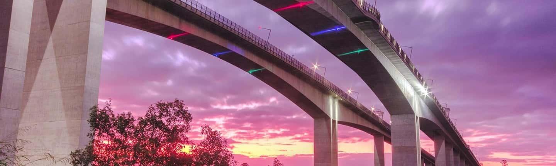 Image of a Concrete Bridge at Sunset