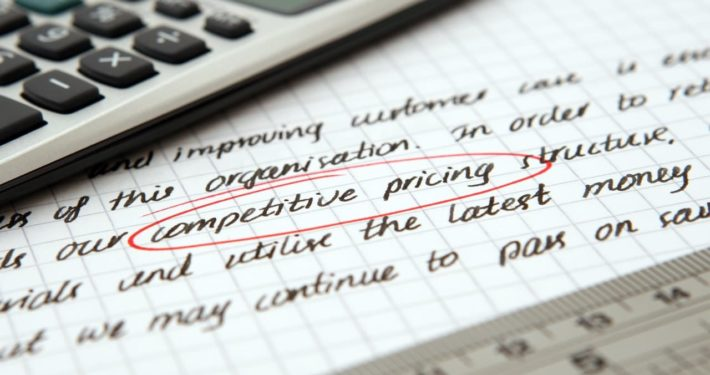 calculator and document describing competitive pricing