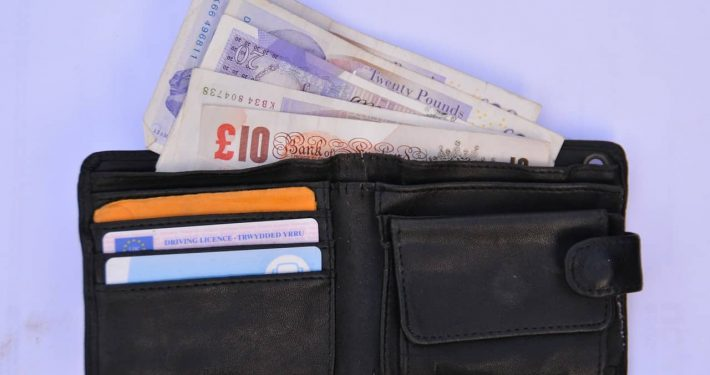 wallet with british currency